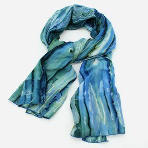 Hand Dyed Waterfall Scarf, Royal Blue, Green